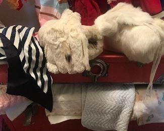 Fur muffs, hats, etc