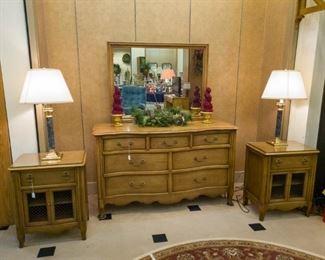 Dresser, 2 nightstands, lamps, large area rug