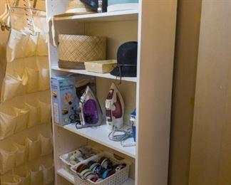 Rowenta and Black & Decker irons, vintage hats, bathroom scales