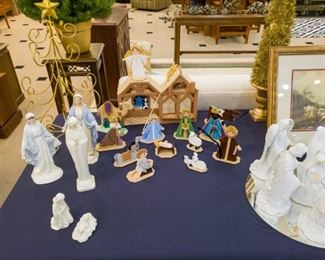 Nativities...signifying the real meaning of Christmas!  Also, Gorham crystal (Mary, Joseph, Jesus), Florence ceramic Madonna, Goebel Mary and Jesus.