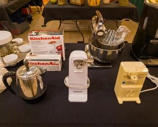 New KitchenAid accessories, an ADORABLE little percolator, Sunbeam Mixer, can openers, etc.