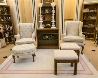 Chairs, ottomans, large area rugs