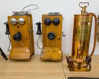Vintage crank phones refurbished with phone jack.