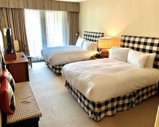 Black & White Plaid Bed Full Size Headboard $199 Each - Mattress not included