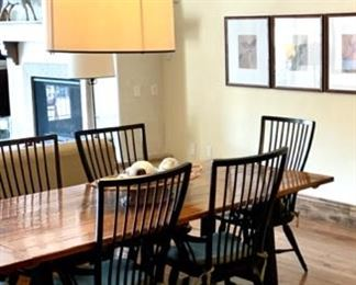 """Dining Room Table $699, Dining Table Dimensions 87.5"""" L x 40"""" W x 30 1/4 H - Dining Chairs with arms $99 Each"""