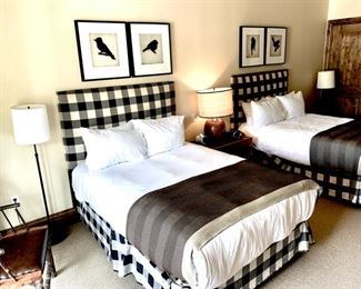 Black & White Plaid Fabric Full Size Headboard       $199 Each                                                                                                          Mattresses not included