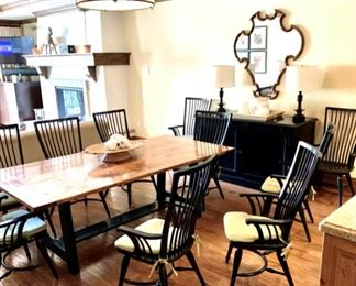 """Med Dining Table $699  Dining Chairs w/ arms $99 each. Dimensions:  87"""" L  x 40"""" W x 30 1/4"""" H"""