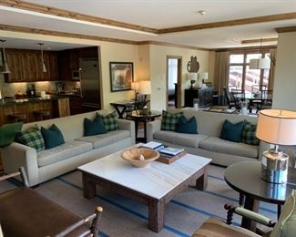 """Sofa $599 (Dimensions 83 3/4"""" Long) Each, Stone Coffee Table (42"""" x 54"""" ) As is $299                                                 Round Side Table $199"""