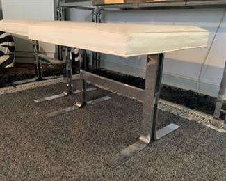"""LOT #103 - $650 - Vintage Chrome & Smoky Glass Console Table with 2 Upholstered Stools (table approx. 59.5"""" L x 22"""" W x 26"""" H, upholstery on stools needs cleaning)"""