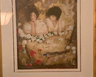 """""""White Roses"""" serigraph by Janet Treby."""