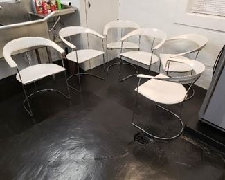 Set of 6 Arrben Italy Ursula chairs, in very good shape, very minor surface rust  here and there and leather need very light cleaning
