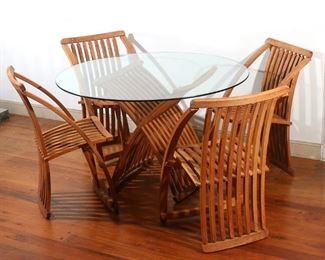 Lot 46   (5pc) MODERNIST FOLDING TABLE & CHAIRS