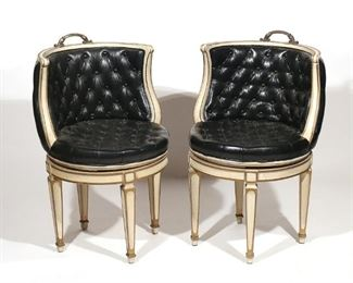 Lot 53   PAIR CAPITONE LEATHER SWIVEL CHAIRS