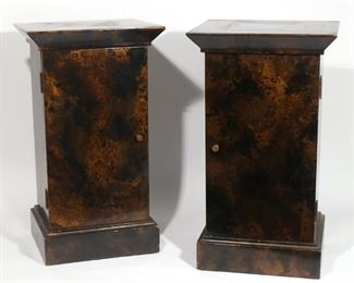 Lot 58   PAIR SMOKEY LACQUERED CABINETS