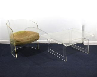 Lot 60   (2pc) PACE COLLECTION & OTHER LUCITE FURNITURE