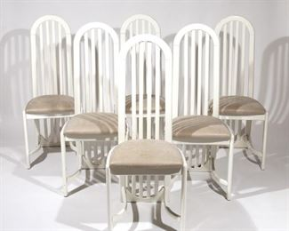 Lot 61   (6pc) CONTEMPORARY HIGH SLAT-BACK CHAIRS