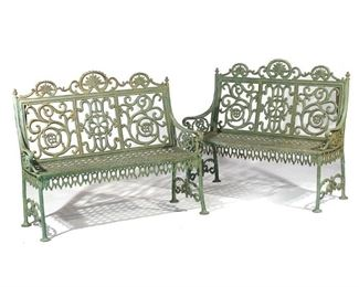 Lot 71   PAIR PETER TIMMES & SONS CAST IRON BENCHES
