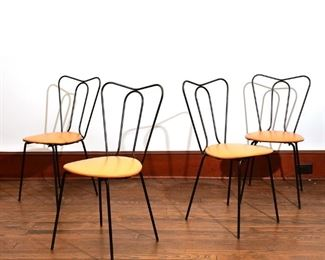 Lot 74   (4pc) LEWIS STREET WROUGHT IRON CHAIRS