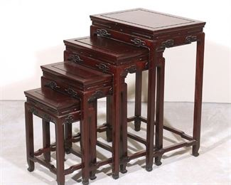 Lot 78   (4pc) CHINESE ROSEWOOD NESTING TABLES