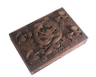 """Lot 93   QING DYNASTY IMPERIAL """"DRAGON"""" WOOD COVERED BOX"""