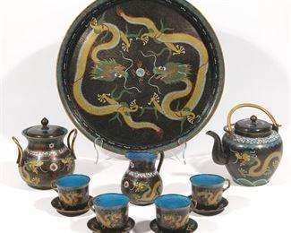 Lot 103   (12pc) ANTIQUE CHINESE CLOISONNE TEA SET