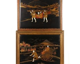 Lot 106   PAIR JAPANESE LACQUERED & INLAID PLAQUES