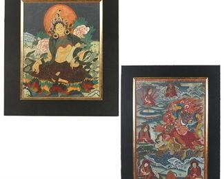 Lot 112   (2pc) THANGKAS: 'TARA' & 'BUDDHIST PROTECTOR'