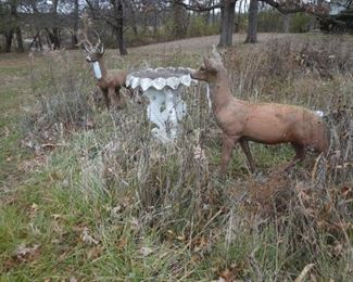 """BUY-IT NOW PAIR CONCRETE DEER BUCK STANDS 51"""" TO TOP OF ANTLERS, DOE 42"""" TO TOP OF HEAD. DOE HAS A  4"""" CHIP OFF THE LEFT FRONT LEG  $250"""
