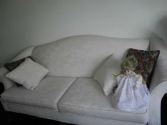 Beautiful white camel back sofa and loveseat