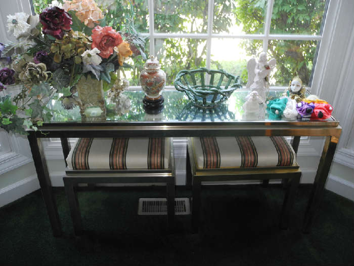 Mirror topped tables in living room