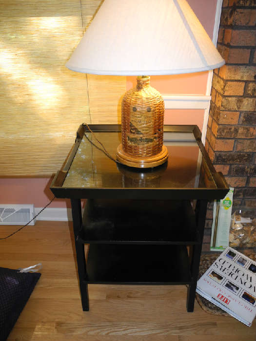 Painted black antique table with glass top