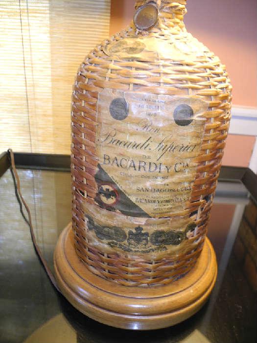 Bacardi rum bottle lamp, unique!