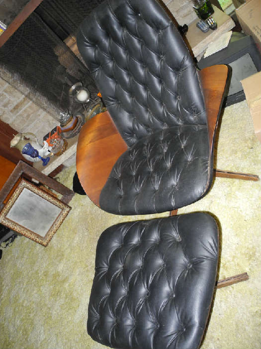 Plycraft Eames era teak and leather chair and ottoman