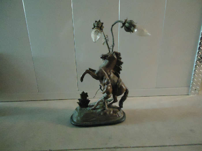 Great antique bronze horse lamp - needs rewiring