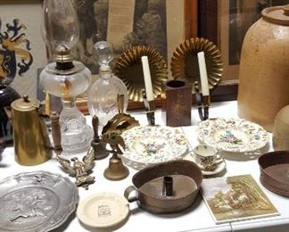 Antique prints, oil lamps, candlesticks, etc.