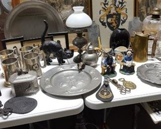 Antique prints and pewter