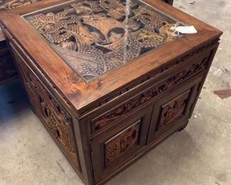 Carved Asian side table & coffee table $495 Call or Text for updated discount price.