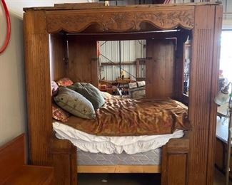 """French """"Lis Clos"""" from Brittany late 18th century full size bed $950 -Call or Text for updated discount price."""