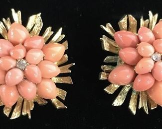 Signed CARVEN Paris Coral Demi Parure Jewelry Set
