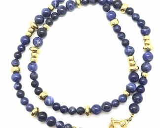 Blue ceramic bead & gold plated statement Necklace