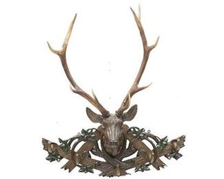 """Black Forest-Style German red stag taxidermy wall mount, antlers on carved wooden mount. 48""""h x 40""""w x 17""""d"""