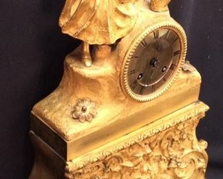 ANTIQUE LOUIS XVI STYLE FRENCH GILT CLOCK
