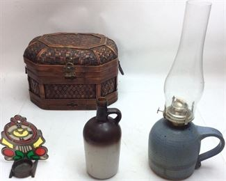 CHOICE LOT, STAIN GLASS CANDLE HOLDER, OIL LAMP, BASKET