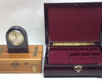 JEWELRY BOXES, MARBLE CLOCK