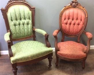 2 ANTIQUE GREEN & RED ARM CHAIRS,