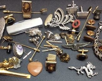 TIE CLIPS, PINS, CHARMS, CUFFLINKS