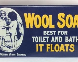 REPRO EMBOSSED WOOL SOAP SIGN ADVERTISING