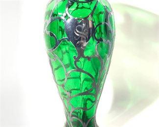 Antq. ALVIN Art Nouveau Emerald Silver Glass Vase
