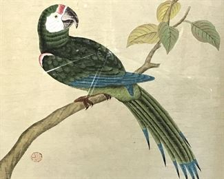 Signed Chinese Watercolor Painting Parrot Artwork