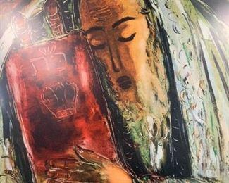 REUVIN RUBIN Signed The Rabbi Lithograph